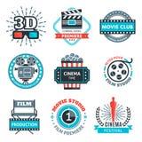 Färgrika emblem för bio Royaltyfri Fotografi