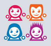 färgrika emoticons Arkivfoton
