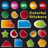 färgrika etiketter royaltyfri illustrationer