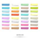 färgrika etiketter också vektor för coreldrawillustration Uppsättning av pappers- anmärkningsklistermärkear som isoleras på vit S Arkivbild