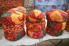 Färgrika etniska Rajasthan turbaner Fotografering för Bildbyråer