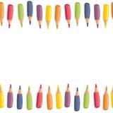 Färgrika färgpennor överkant och bottengräns Arkivfoton