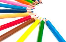 Färgrika färgpennor Royaltyfri Fotografi