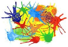 Färgrika färgstänk av målarfärg Arkivfoto