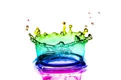 Färgrika färgstänk av vatten Arkivfoto