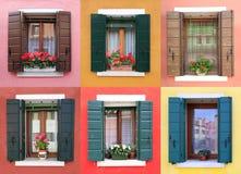 Färgrika fönster i Burano, nära Venedig arkivbild