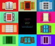 Färgrika fönster, vektorillustration Arkivbilder