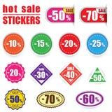 Färgrika försäljningsklistermärkear och etiketter vektor för set för tecknad filmhjärtor polar Royaltyfri Foto