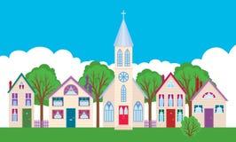 Färgrika fasader av husen på en stadsgata Arkivfoton