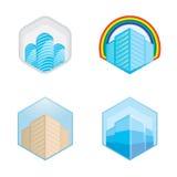Färgrika fastighet-, stads- och horisontsymboler, vektorillustrationer Royaltyfria Foton