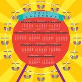Färgrika Ferris Wheel 2017 tryckbara kalender startar söndag stock illustrationer