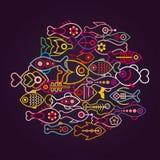 Färgrika fiskar vektor illustrationer
