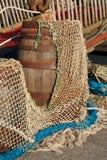 Färgrika fisknät - havbackround Royaltyfria Bilder