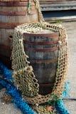 Färgrika fisknät - havbakgrund Arkivbilder