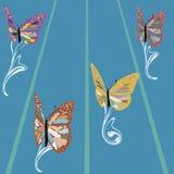 Färgrika fjärilar för vektor som simmar i simbassängen Arkivfoto
