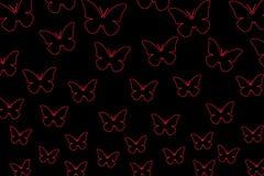 Färgrika fjärilar på en svart bakgrund isolerade fjärilar Mall mellanrum, ljust som är färgrikt stock illustrationer