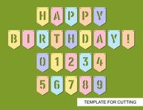 Färgrika flaggor med sned bokstäver Lycklig födelsedag och nummer 0,1,2,3,4,5,6,7,8,9 för inskrift vektor illustrationer