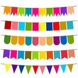 Färgrika flaggor och buntinggirlander för garnering vektor illustrationer