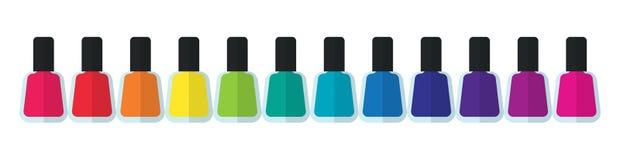 Färgrika flaskbehållare för lyxig elegant stilfull manikyr och pedikyr Royaltyfria Bilder
