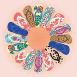 Färgrika flipflops för sommar i cirkel stock illustrationer