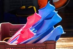 Färgrika flipper i asken Dyka och snorkla tillbehör royaltyfri bild