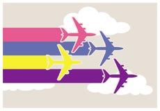 Färgrika flygplan Fotografering för Bildbyråer
