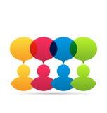 Färgrika folksymboler med dialoganförandebubblor Fotografering för Bildbyråer