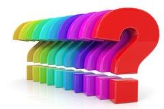 färgrika frågor Arkivbilder