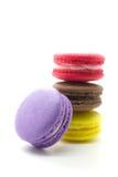 färgrika franska macaroons royaltyfri fotografi
