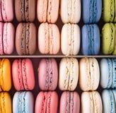 Färgrika franska makronbakgrunder, lekmanna- lägenhet Ferier och berömbegrepp royaltyfri fotografi