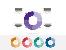 Färgrika fyra sidvektor för diagram för diagram för pusselpresentation infographic Royaltyfri Bild