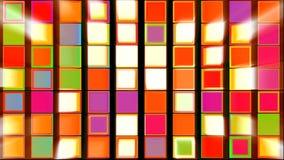 Färgrika fyrkanter med abstrakt bakgrund för ljusa strålar stock video