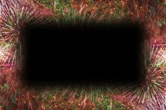 Färgrika fyrverkerier med svart rektangelkopieringsutrymme arkivbild