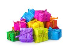 Färgrika gåvaaskar Royaltyfri Bild