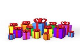 Färgrika gåvaaskar Arkivbild