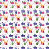 Färgrika gåvor för härlig grafisk älskvärd underbar för ferie vinter för nytt år ljus med pilbågar som är slingrande, konfettimod vektor illustrationer