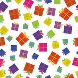 Färgrika gåvor med bandet på vitt sömlöst vektor illustrationer