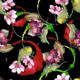 Färgrika gardeniablommor Blom- botanisk blomma Seamless bakgrund mönstrar Fotografering för Bildbyråer