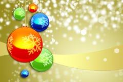 Färgrika garneringar för julsammansättning Royaltyfri Foto