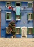 färgrika gator venice för burano Arkivfoton