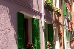 färgrika gator venice för burano Royaltyfria Foton