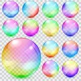 Färgrika genomskinliga glass sfärer Fotografering för Bildbyråer