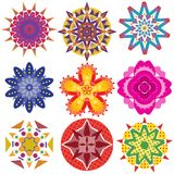 9 färgrika geometriska blommadiagram arkivfoton