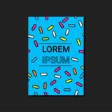 Färgrika geometriska former på blå bakgrund För affärskort affisch, reklamblad Broschyrräkningsdesign Royaltyfria Foton