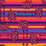Färgrika geometriska sömlösa blom- afrikanska palmträd Royaltyfri Illustrationer