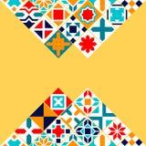 Färgrika geometriska tegelplattor bakgrund, vektor Royaltyfri Fotografi
