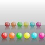 färgrika glansiga spheres för samling Arkivfoton