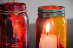 Färgrika glass lampor Arkivfoto