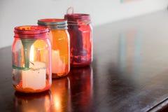 Färgrika glass lampor Fotografering för Bildbyråer