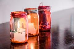 Färgrika glass lampor Arkivbild